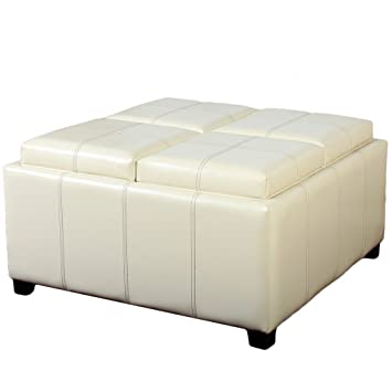 Fine Great Deal Furniture 281870Whi Harley Four Sectioned Ivory Leather Cube Storage Ottoman Forskolin Free Trial Chair Design Images Forskolin Free Trialorg