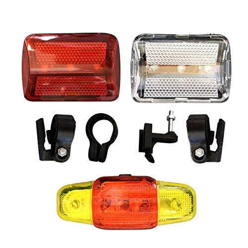 3 PIECE SET - Super Bright Water Resistant Bicycle Light Kit - Includes 1 LED Front Headlight - 1 LED Rear Light and 1 FREE LED Flashing Taillight - Easy to Mount - Improve Visibility for Rider Safety