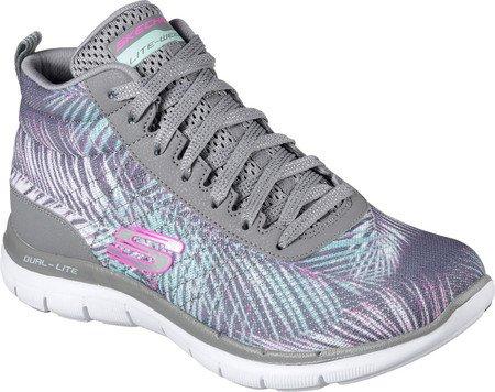Skechers Sport Women's Flex Appeal 2.0 New Recruit Fashion Sneaker, Grey/Mint, 7.5 M US