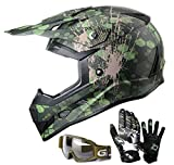 kids atv gear - GLX Youth Kids Off Road Motocross ATV Dirt Bike Helmet Camouflage Green [DOT] +Gloves+Goggles (L)