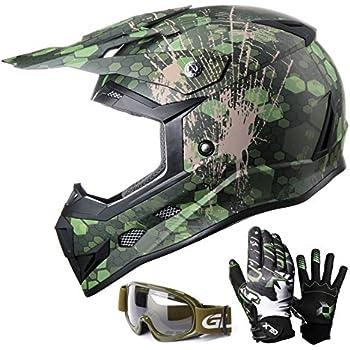 GLX Youth Kids Off Road Motocross ATV Dirt Bike Helmet Camouflage Green [DOT] +Gloves+Goggles (L)