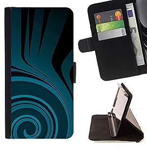 For Sony Xperia Z3 Plus / Z3+ / Sony E6553 (Not Z3) Case , Patrón trullo Flow Negro Oscuro- la tarjeta de Crédito Slots PU Funda de cuero Monedero caso cubierta de piel