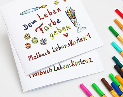 Malbücher für Erwachsene - Serien Lebenskarten 1 und 2