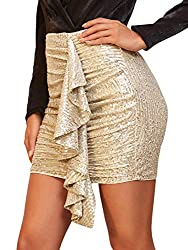 Ruffle Draped Ruched Sequin Mini Skirt