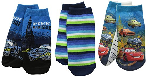 Disney Boys' Little Cars 3 Pack Socks Bundle, Assorted, 6-8.5