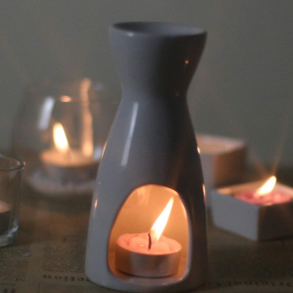 Vase Shape Ceramic Tea Light Holder Aromatherapy Essential Oil Burner Decoration for Living Room Patio and Garden Balcony