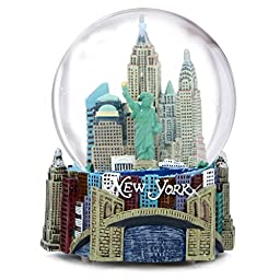Musical New York City Snow Globe, 100mm New York City Snow Globes, 5.5 Inches Tall, PLAYS \