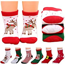 6pairs Baby Christmas Sock Cotton Thickened Cartoon Holiday Toddler Crew Ankle Socks