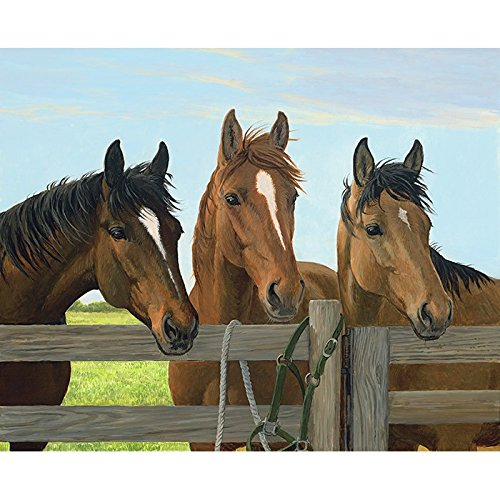 Three Horses Fabric Panel - Wild Instincts Digital Print - 35'' x 44'' - 100% Cotton Quilt Fabric by Homespun Hearth