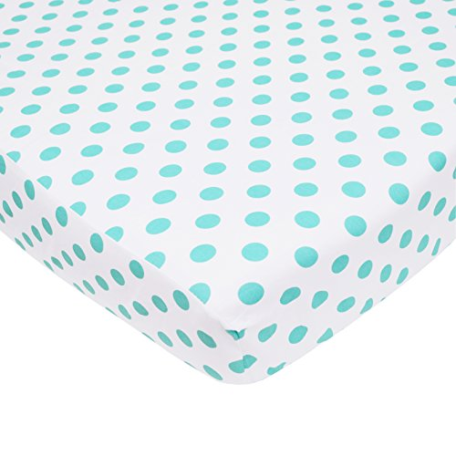 TL Care 100% Cotton Percale Fitted Crib Sheet for Standard Crib and Toddler Mattresses, White with Aqua Dot , 28