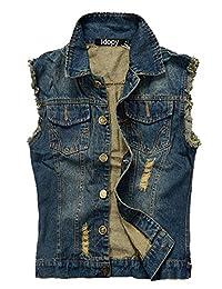 Idopy Men`s Retro Ripped Denim Jeans Vest Sleeveless Jacket