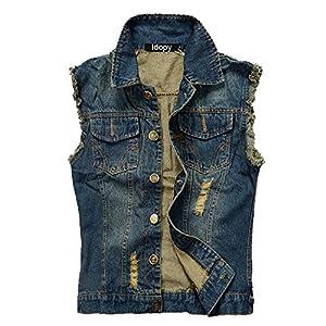Men`s Retro Ripped Denim Jeans Vest Sleeveless Jacket