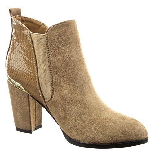 Sopily - Scarpe da Moda Stivaletti - Scarponcini chelsea boots donna pelle di serpente metallico verniciato Tacco a blocco tacco alto 8 CM - Grigio