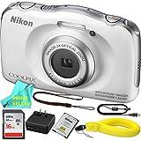 Nikon COOLPIX S33 Waterproof Digital Camera (White) ESSENTIAL BUNDLE & Prime Seller Microfiber Cloth