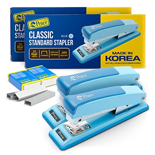 Peace Stapler with 2000 Staples, 2 Pack, Desk Metal Stapler, 25 Sheet Capacity, Standard Commercial Stapler, 100% Made in Korea, Blue Stapler