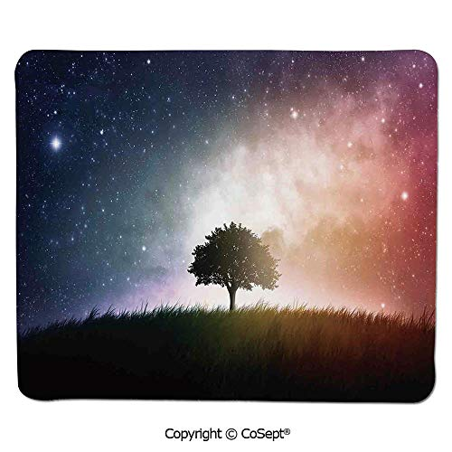 Premium-Textured Mouse pad,Single Tree in Field of Meadow Valley with Stars Universe Spiritual Display Print,for Laptop,Computer & PC (15.74