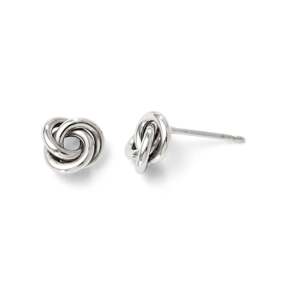 10kt White Gold Polished Knot Post Earrings