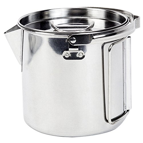 MyLifeUNIT Outdoor Stainless Steel Camping Kettle, Large Portable Hiking Camping Pot with Handle and Lid (40 Ounce) by MyLifeUNIT