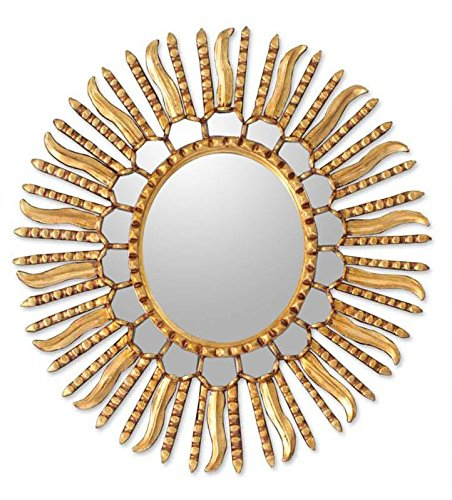 NOVICA Gold Sunburst Bronze Leaf Wood Framed Decorative Wall Mounted Mirror, Metallic 'Winter Sun' (Room Decorative Mirrors Living)