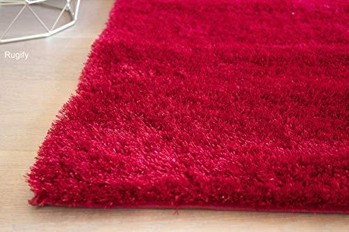 LA Rectangular Deep Pile Fluffy Modern Silky Canvas Backing Shag Shaggy Floor Fluffy Fuzzy Medium Pile 8-Feet-by-10-Feet Polyester Made Area Rug Carpet Rug Red Color