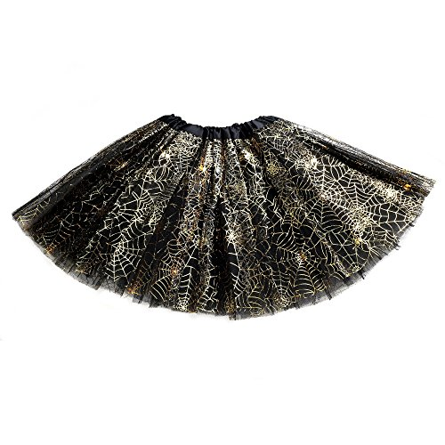 [Anleolife 12''/ 3 Colors Spider Animal Print Tutu Skirt Birthday Halloween Tutu Girl Tutu Dress Set Ballet Dance Costumes (black)] (Tutu Ballet Costumes)