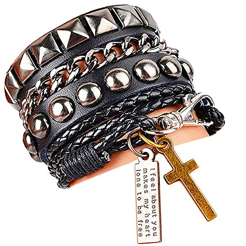 (Y-blue Street Rock Punk Leather Multilayer Bracelet 8 Color)