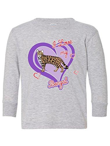 Tenacitee Girl's Toddler Bengal Cat Long Sleeve T-Shirt, 4T, Heather Grey