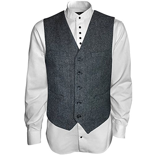 The Celtic Ranch Men's Irish Vest, Full Back Grey Herringbone Tweed Wool Blend (L)