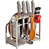 AIYoo Multifunctional Kitchen Tools Storage Rack,Stainless Steel Knife Block Cutting Board Holder Utensils Holder Organizer Shelf With 4 Hooks Kitchen Utensils Storage Rack Counter Display Stand
