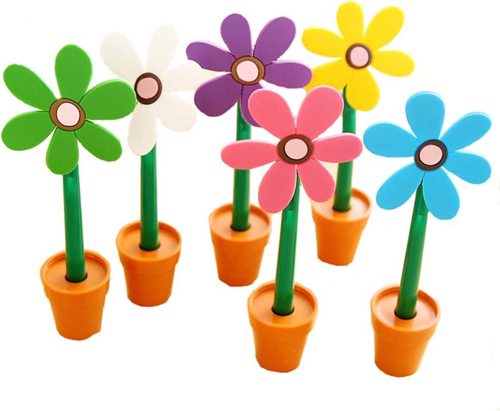 Novelty Cute Sunflower Decor Ballpoint Pen Box planting Ballpoint Pen Office School Supplies Students Children Gift (6 PCS Blue Ink)