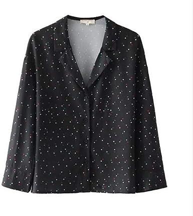 Meaeo Camisa Kimono con Estampado De Estrellas Y Solapa De ...