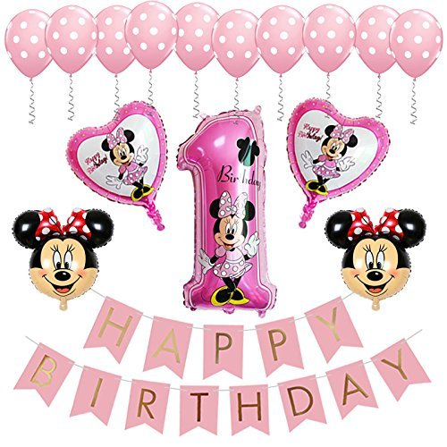 BE Happy Minnie Mouse 1st Birthday Party Supplies Decorations Banner Balloon for Girl Decor Pink ()