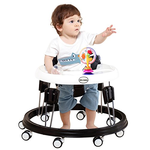 Kids&Koalas Foldable Baby Walker,Height Adjustable and Free Installation Learning Walker (Cloth Black)