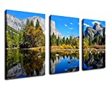 "Canvas Wall Art Mountain and Lake Nature Pictures Yosemite National Park Canvas Artwork Painting Prints - 20"" x 30"" x 3 Pieces Large Canvas Art Framed Ready to Hang for Wall Decor of Home and Office"