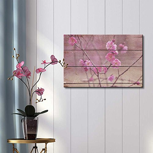 Branch Full of Cherry Blossoms Rustic Floral Arrangements Pastels Colorful Beautiful Wood Grain Antique