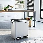 SONGMICS-Cubo-de-Reciclaje-de-30L-Cubo-de-Basura-de-Metal-Basurero-con-Cubo-Interno-y-Asas-2-x-15-litros-para-Cocina-Cierre-Suave-Hermetico-Plata-LTB30H