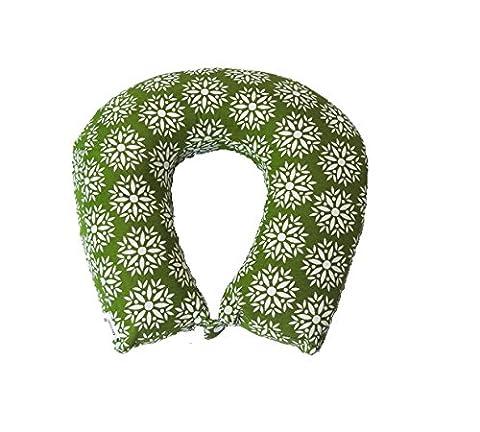 Kanyoga Memory Foam Neck Pillow Comfortable Travel Pillow Printed Neck Support Olive & White (Lavanda Collo Wrap)