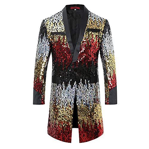 ec799f06b91 Men s Tuxedo Single-Breasted Party Show Suit Sequins Punk Jacket Blazer
