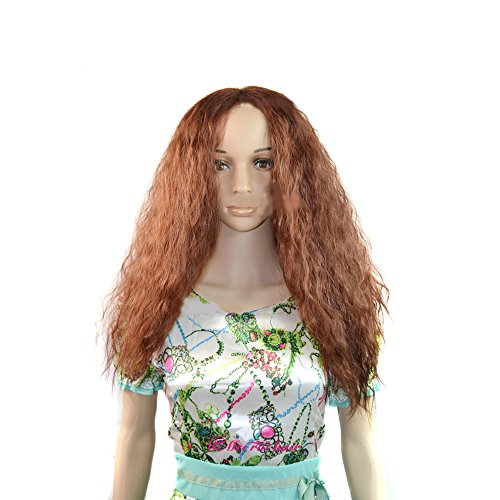 Long Parted Wig - wigico Fashion Natural Long Curly Wigs parted Bangs Wigs-Light Brown-Ladies //Beautiful Women's Long Wave Curly Wig (Light Brown)