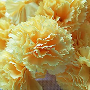 Marigold Flower Heads Bulk 30Pcs, Silk Artificial Flowers for DIY Wedding Party Deor 5cm(Yellow)
