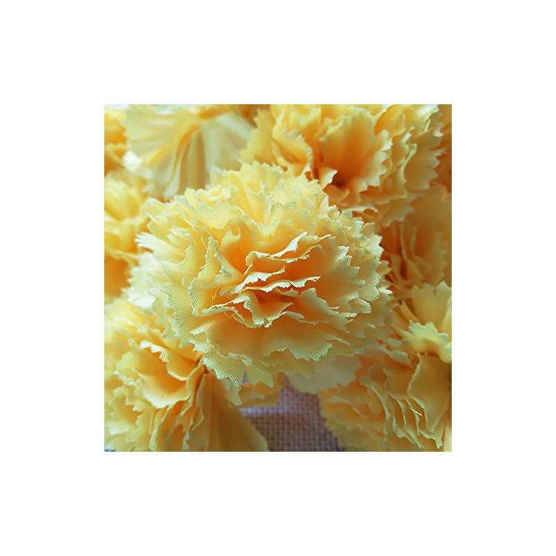 silk flower arrangements marigold flower heads bulk 30pcs, silk artificial flowers for diy wedding party deor 5cm(yellow)
