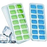 LETTURE 2 Pack Ice Cube Bandejas para Cubitos de Hielo, con tapa extraíble resistente a derrames, Moldes para Cubitos de Hiel