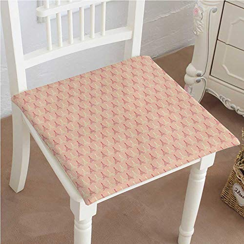 Mikihome Dining Chair Pad Cushion Colors Eiffel Tower Pattern France Landmark Repetitive Design Peach Light Yellow Dark Coral Fashions Indoor/Outdoor Bistro Chair Cushion 26
