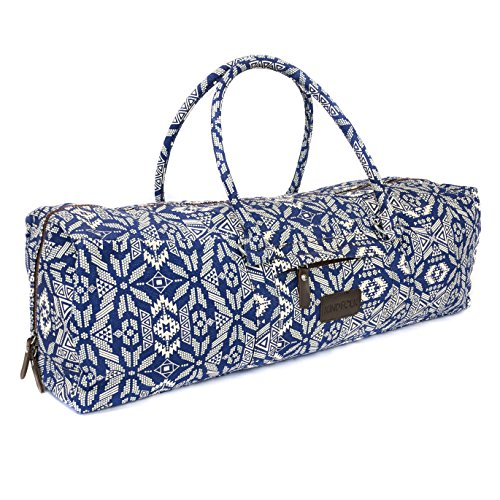 Kindfolk Yoga Mat Duffle Bag Patterned Canvas with Pocket and Zipper (Bravo)
