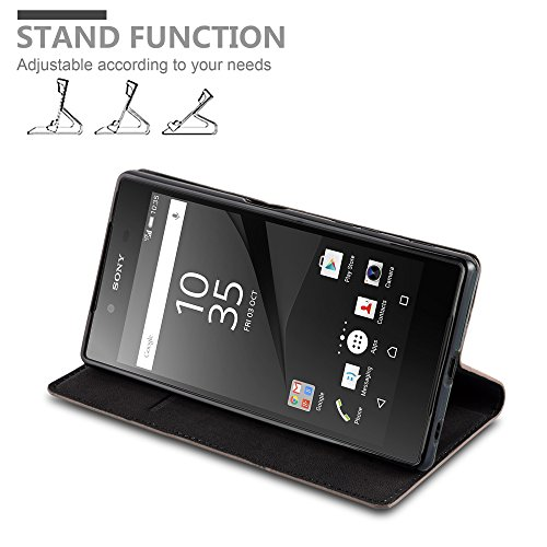Cadorabo - Funda Book Style Cuero Sintético en Diseño Libro Sony Xperia Z5 - Etui Case Cover Carcasa Caja Protección con Imán Invisible en NEGRO-ANTRACITA MARRÓN-CAFÉ