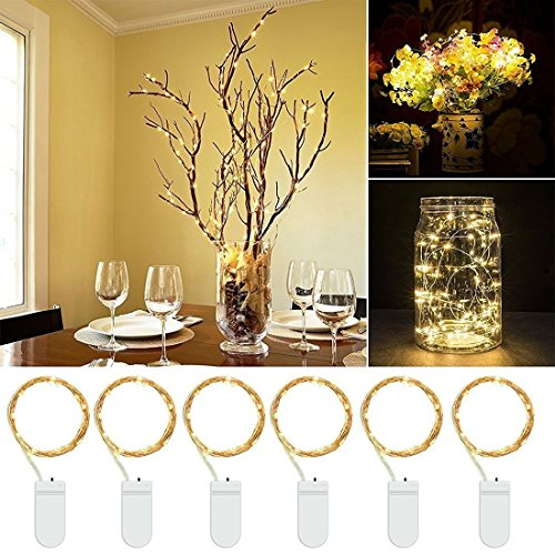 6 Pack Fairy Lights, MZD8391 Battery Operated Rope Lights Waterproof 20 LED Hanging Lights 6.6FT Copper Wire Firefly Lights (Warm White)