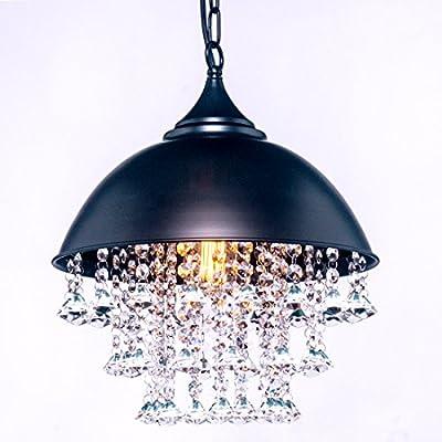Vintage Iron Retro Crystal Pendant Light Metal Hanging Ceiling Light Chandelier with1 light