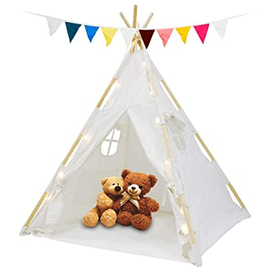 Smartxchoice Teepee Tent for Kids, 100% Cotton Canvas Play Tent Indoor Outdoor Playhouse for Boys Girls with Star Light, Colorful Flag, Waterproof Base, Windows, Pockets and Carry Bag: Toys & Games