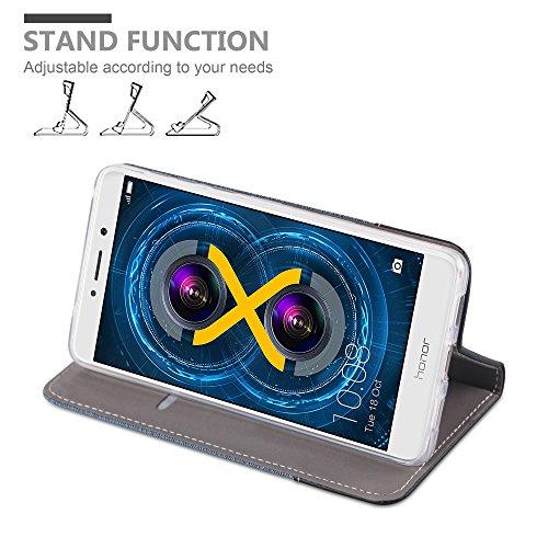 Cadorabo - Funda Estilo Book para >                                      Honor 6X                                      < de Diseño Tela / Cuero Arificial con Tarjetero, Función de Soporte y Cierre Magnético Invisible