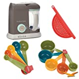 Beaba Babycook Pro Baby Food Processor and Steamer 912313 Bundle with 5-Piece Measuring Cup Set, 5-Piece Measuring Spoon Set, and Red Pot Drainer